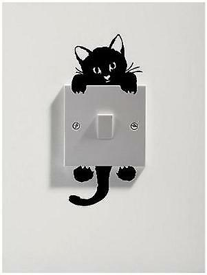 2 X CATS FOR LIGHT SWITCH STICKER VINYL DECAL ART WALL ANY ROOM GOOD LUCK BLACK