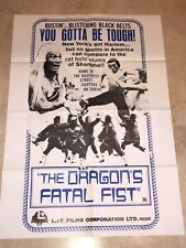 The Dragon's vs Fatal Fist folded movie promo poster Kung Fu - Martial Arts