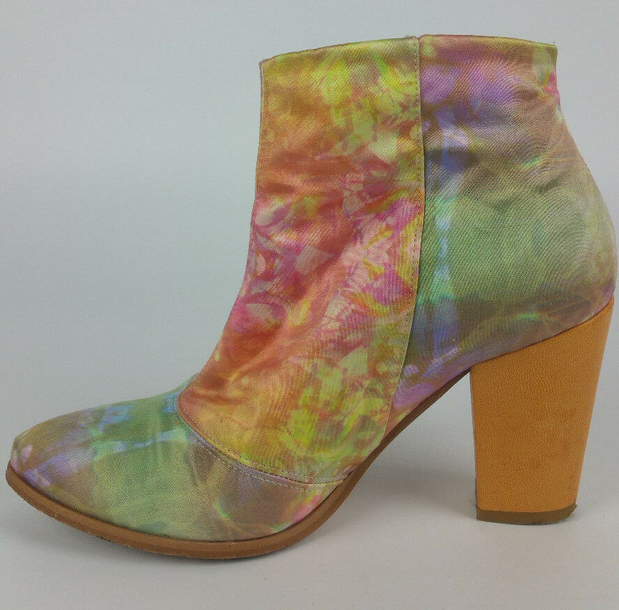 Miista Free People Satin Floral Flower Leder Leder Leder Heel Ankle Stiefel sz 36 Made Spain f9088b