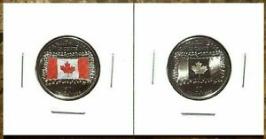 Canada-2015-Flag-50th-Anniversary-Colourized-amp-Noncolourized-Quarter-Set