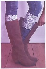 Stretch Lace Boot Cuffs Leg Warmers WhiteTrim Toppers Socks Shoes
