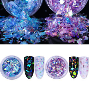2Boxen-Fluoreszierend-Nagel-Glitzer-Puder-Nail-Sequins-Glitter-Powder-lila-Blau