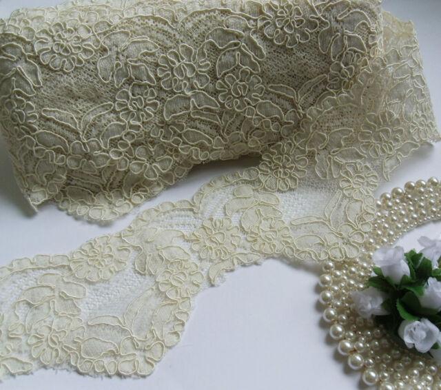 "3-3/4"" Bridal Wedding Beige (Antique Ivory) Flowers+ Cord Lace Trims-18""-T755"
