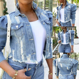 Women Puff Sleeve Short Cropped Button Down Coat Ladies Casual Denim Jean Jacket