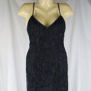 Laurence-Kazar-Med-AS-IS-Black-Silk-Beaded-Full-Length-Formal-Dress-Gown-Trophy