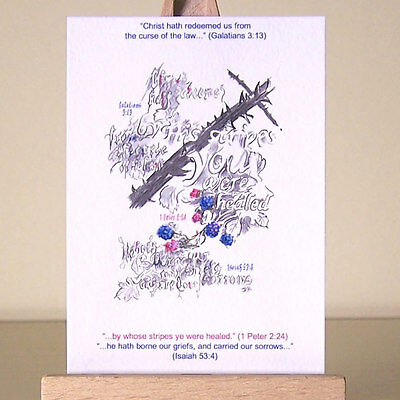 Christian Art Healing Scriptures Shape of the Cross and Bible Verses ACEO  card | eBay