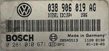 VW POLO 9N 1.9TDI ATD 100BHP BOSCH ECU 038906019AG TUNED REMAPPED IMMO OFF