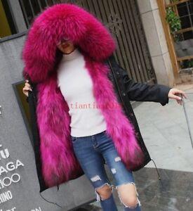 Womens-Fur-Collar-Hooded-Real-Fur-Lined-Winter-Warm-Luxury-Coat-Jacket-Parka-New