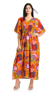 Floral Long Dashiki Kaftan Caftan Maxi House Dress Outfit Gown ...