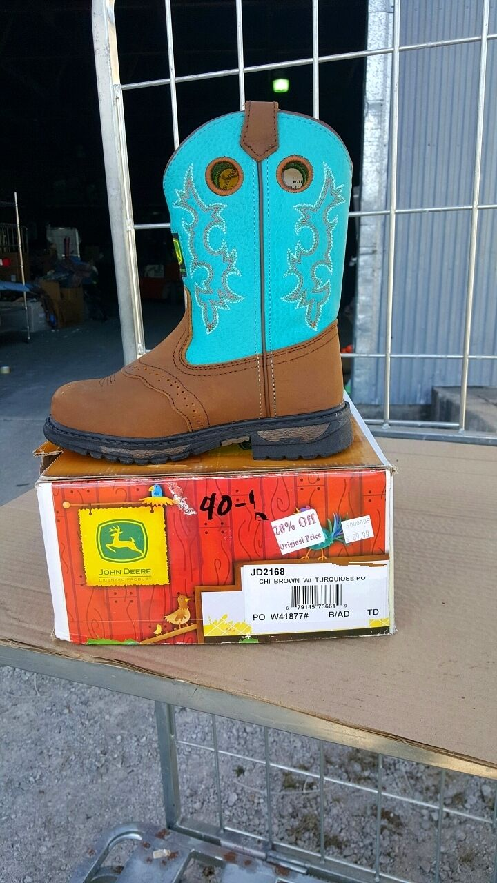 40-12 New youth 2.5M  John Deere Johnny Poppers turquoise western boots was 90  cheap sale