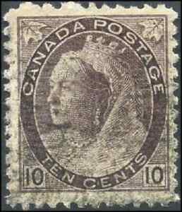 Canada-83-used-F-VF-1898-Queen-Victoria-10c-brown-violet-Numeral-Issue-CV-30-00