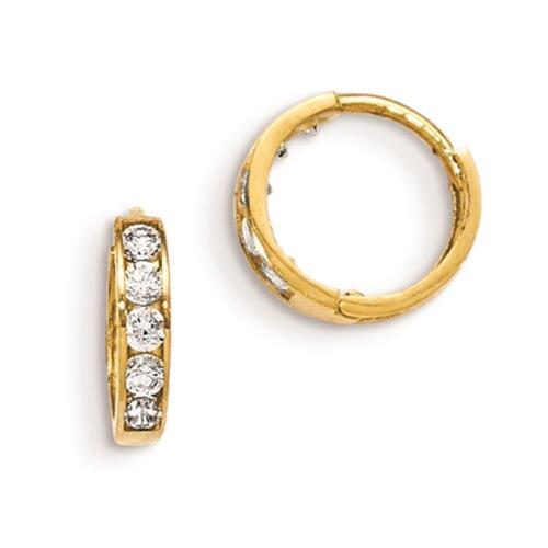 14k Yellow Gold Polished Madi K CZ Childrens Hinged Hoop Earrings 10mm x 3mm