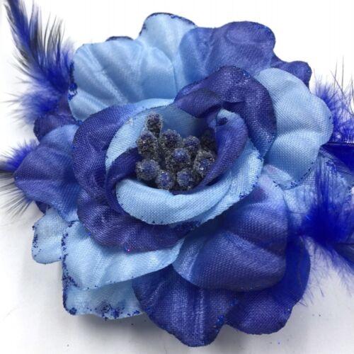 Brosche Ansteckblume Blüte Stoff Rose Stoffblume Chiffon Mit Federn Bunt Ø 8 cm