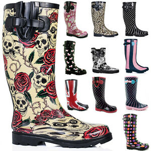 FIRE-SALE-New-Womens-Funky-Snow-Rain-Welly-Wellies-Wellington-Flat-Boots-Size