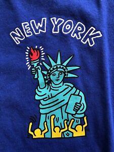 KEITH-HARING-X-UNIQLO-SPRZ-NY-Artist-T-Shirt-BLUE-US-SZ-S-XL-NWT-MOMA-NYC