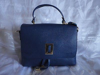 Tasche ital. NEU Handtasche Schultertasche Bag Leder Blau Dunkelblau