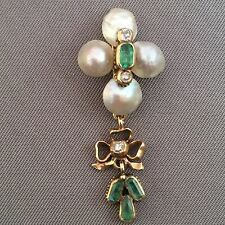 Antique Victorian 14k Gold Sea Pearl And Emerald Pendant.