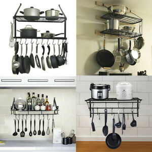 Details about Hanging Iron Rack Storage Kitchen Organizer Pot Pan Holder  Wall Shelf + Hooks