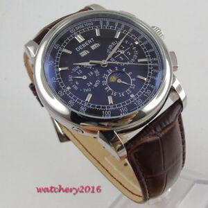 42mm-Debert-Schwarz-dial-Mond-Phase-Silber-Automatisch-movement-Uhr-men-039-s-Watch