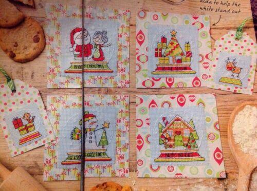Snow Globe Cards Gift Tags Santa Tree Robin Christmas Cross Stitch Chart X6