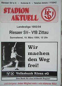 VfB Gaggenau Programm 1993//94 SV Sandhausen 1916