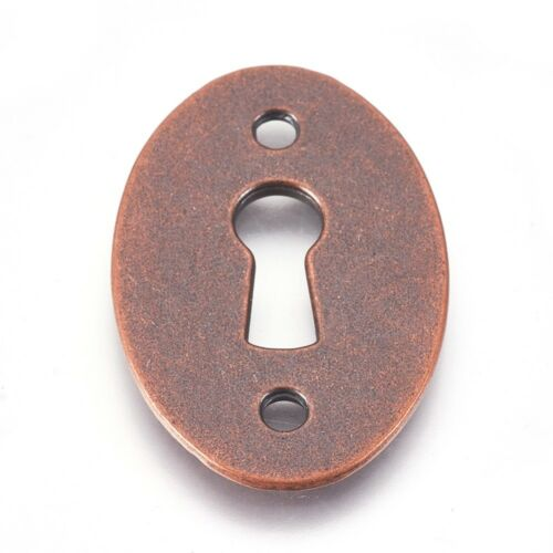 Keyhole Pendant Connector Antique Copper Tone Steampunk Lock Charm Oval