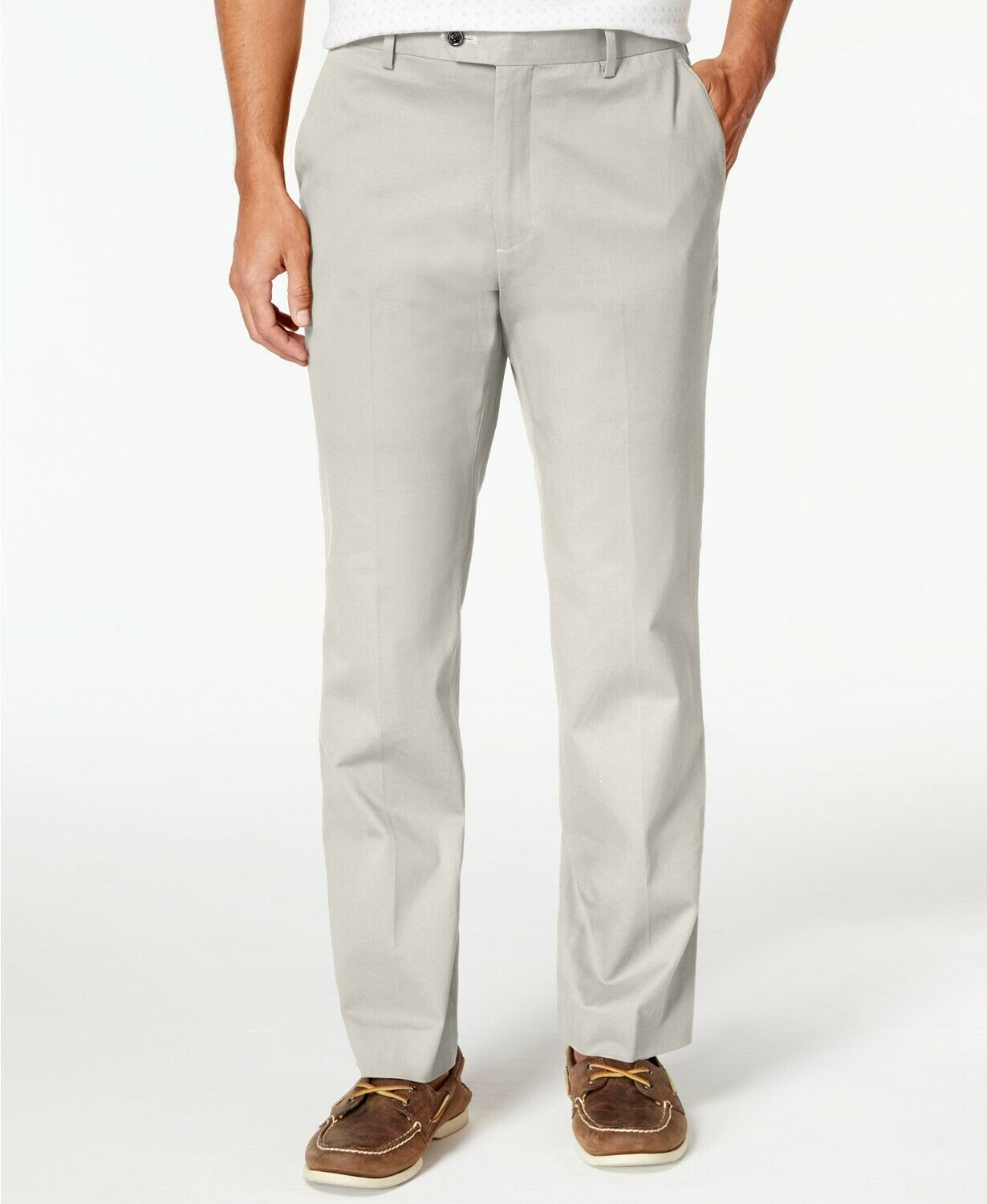Tasso Elba Men's Regular-Fit Stretch Pants, White Fog, 38W x 30L