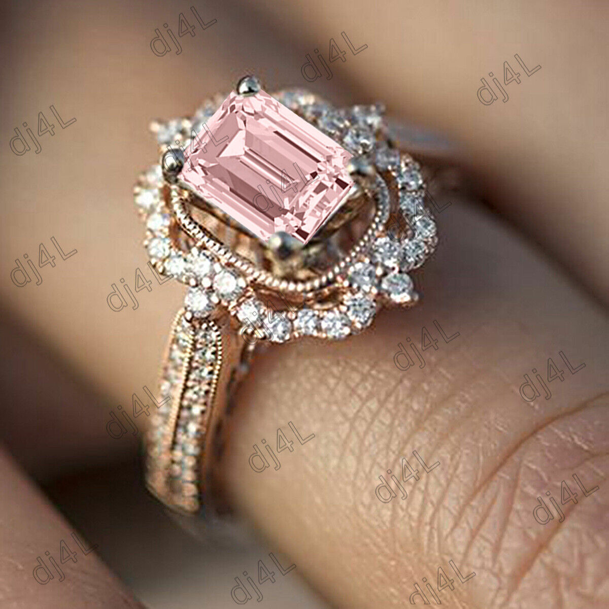 2.50Ct Morganite Emerald Cut Diamond Halo Vintage Engagement Ring 10k pink gold