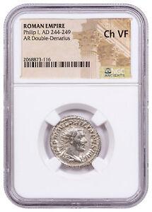 AD-244-249-Roman-Empire-Silver-Double-Denarius-of-Philip-I-NGC-Ch-VF-SKU56209