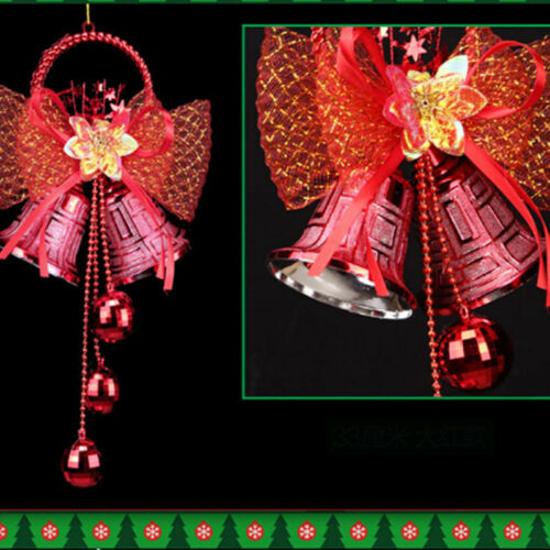 Christmas Bowknot Double Bell Xmas Tree Ornament Pendant Door Hanging Decor Z