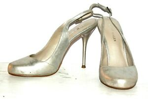 KAREN-MILLEN-Silver-Wedding-Prom-Ballroom-Party-Stiletto-Slingback-Shoes-Uk-3