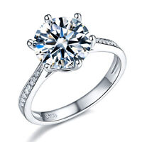 925 Sterling Silver Wedding Engagement Ring Clear 3 Carat Jewelry Ring Fr8209