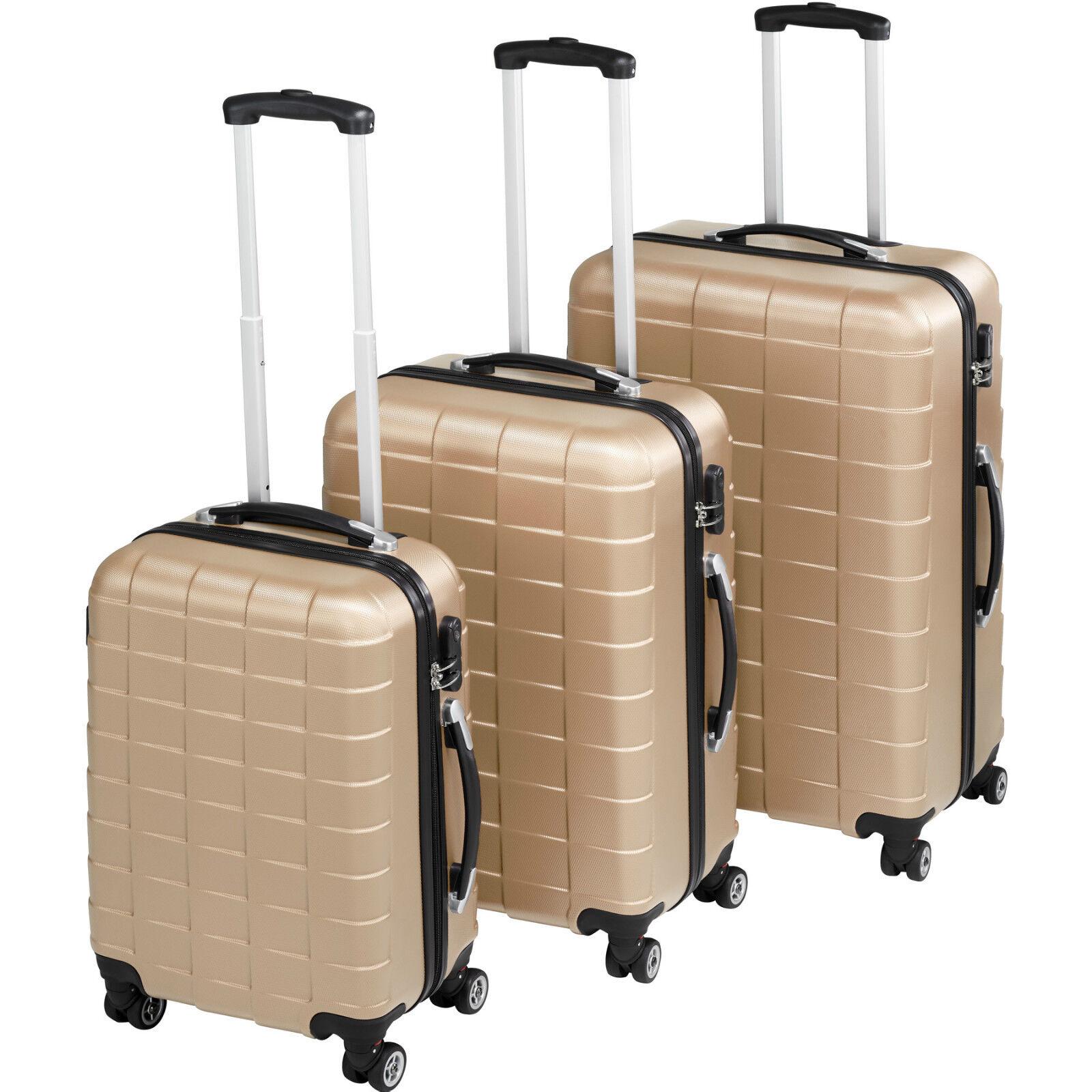 Set de 3 valises voyage coque ABS léger rigide borsaages valise trolley champagne