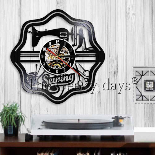 Sewing Room Decor Sewing Machine Vinyl Record Clock Contemprorary Decor Gift