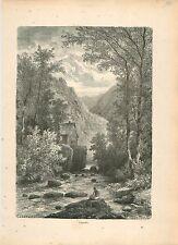L'Amblève Amel River Ourthe Meuse Ardennes Liège GRAVURE ANTIQUE OLD PRINT 1880