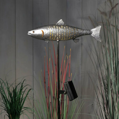 Solar Power Outdoor LED Fish Stake LightsTrout Carp Walkway Path Landscape