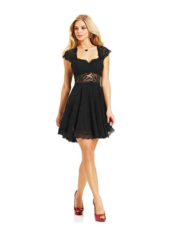 NWT GUESS schwarz Lace Aline Dress, Größe 2