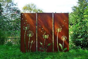 Gartenwand sichtschutz wand triptychon pusteblume stahl for Rost stahl garten