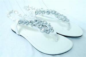 7c5ff9d3d03441 Women s White Shiny Rhinestone Flat Sandals Evening Shoes size 5 6 7 ...