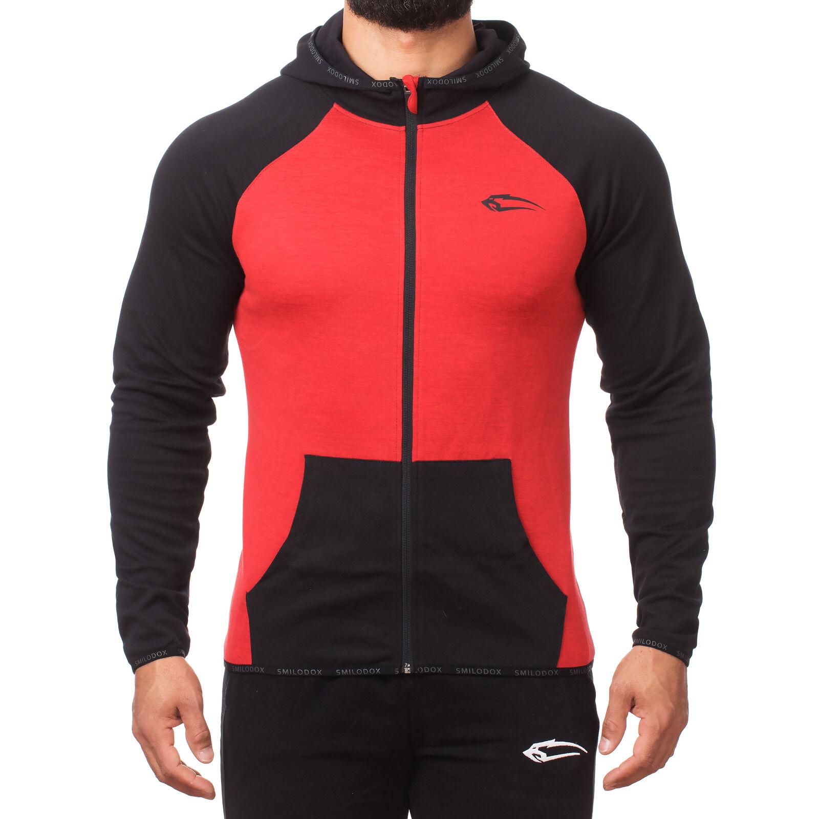 SMILODOX Zip Hoodie Herren Sport Fitness Gym Freizeit Pullover Kapuzenpullover