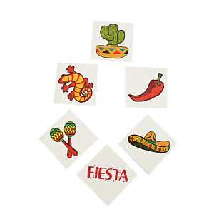 MEXICAN FIESTA PARTY Temporary Tattoos Favours Chilli Cactus Pk of 36 Free Post