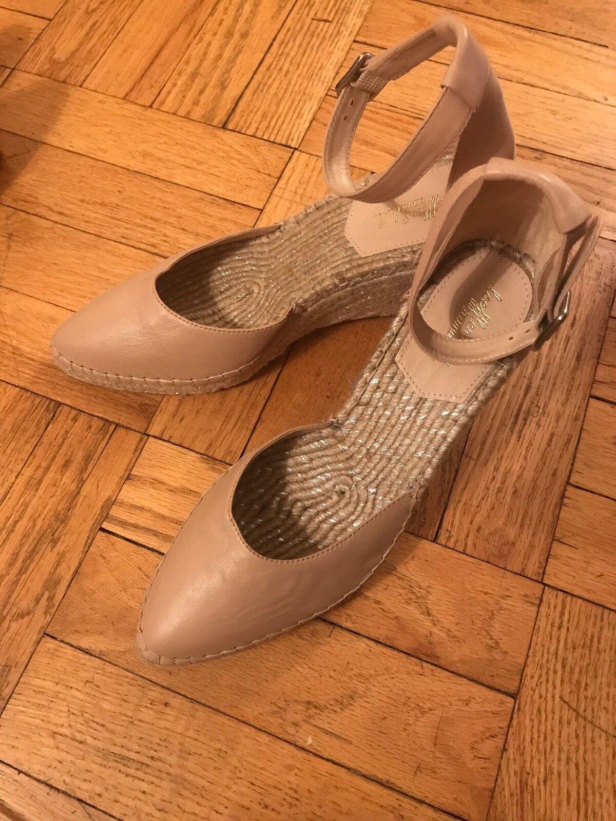 Loeffler Randall Sz 9 Milly Beige Blaush leather Ankle Buckle Wedge Espadrilles