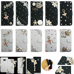 For-iPhone-Phone-Bling-Crystal-Rhinestone-Diamond-Wallet-Leather-Case-Cover-TY