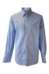 CHARLES-TYRWHITT-Blue-and-Yellow-Checked-Cotton-Shirt-42-89