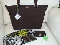 Vera Bradley Baby Diaper Bag Change Pad Free Id Case Espresso Brown Microfiber