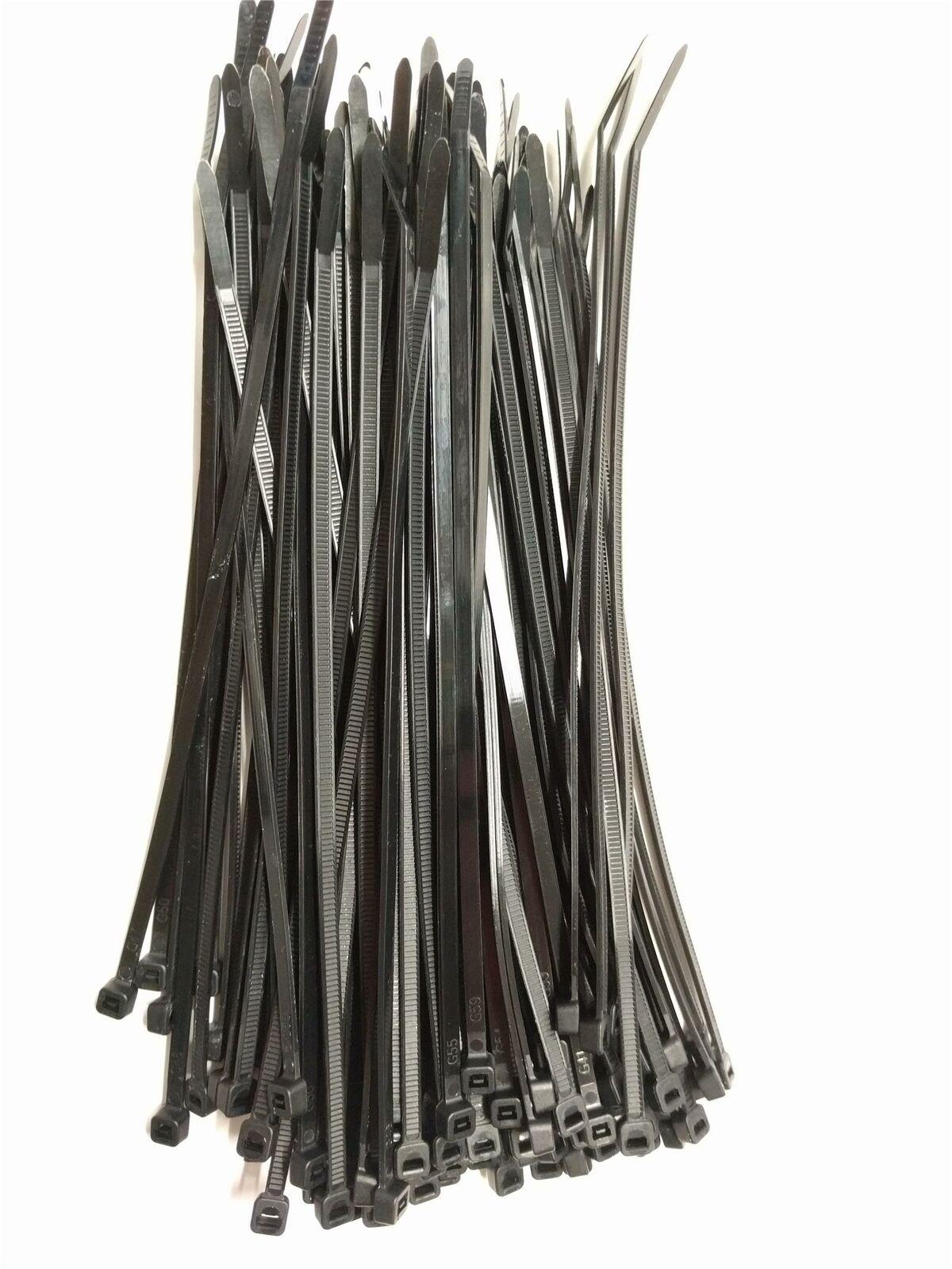 Strong Nylon Plastic 100 Black Cable Ties / Tie Wraps Zip Ties Size 200 x 3.6mm