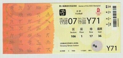 AnpassungsfäHig Orig.ticket Olympische Spiele Beijing 2008 Fussball Brasilien - Belgien ! Top