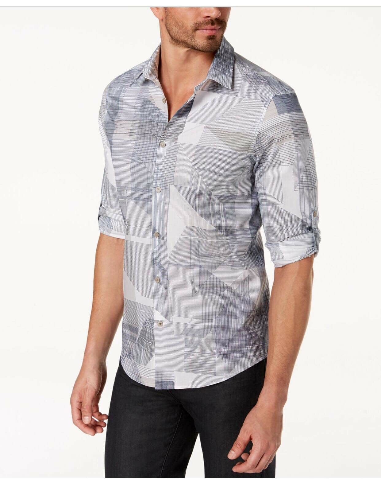 Alfani Men's Cross-Print Casual Button-Down Shirts Size  M
