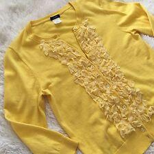 J. Crew Primrose Yellow 3/4 Sleeve Cardigan Size Small Cashmere Blend Flower