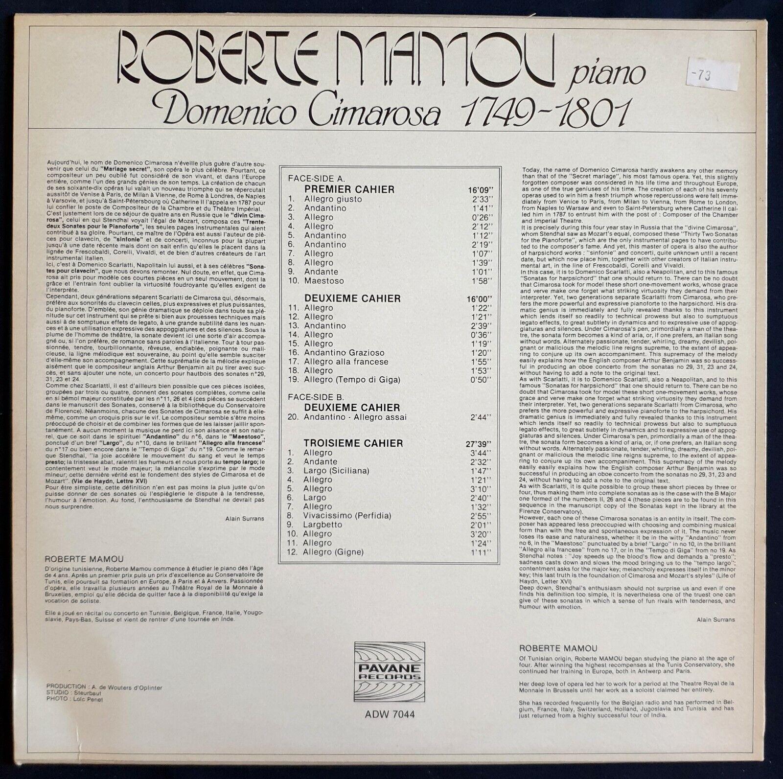 Photo 2 - PAVANE vinile LP domenico cimarosa, ROBERTE MAMOU